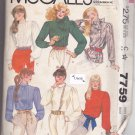 McCall 7759 Uncut 10 Long Sleeve Blouse Gathered Yoke Cuffs vintage 1980s 80s