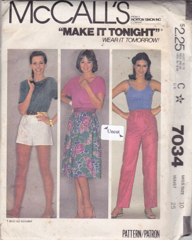 McCall's 7034 Uncut size 10 Waist 25 Flared Midi Skirt Pull On Pants Shorts Tie Belt