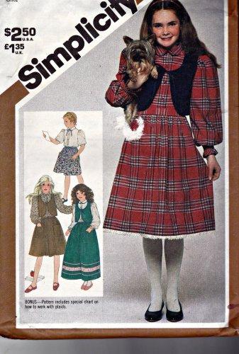 Vintage Simplicity 5672 Pattern uncut Girl's 12 Full Skirts Blouse Lined Vest