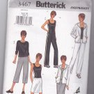 Easy Butterick 3467 Pattern Hoodie Workout Exercise Gym Tops Pants 6 8 10 uncut