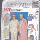 McCall 3370 Pattern Easy Sleepwear Tunic Shortie Long Pajamas Robe XS S M Uncut