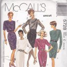 McCall 5728 Pattern 10 12 14 Dress w/Drape Front  Skirt Uncut