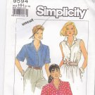 Simplicity 9594 Fuss Free Fit Blouse Short or Long Sleeves 6 8 10 12 Uncut
