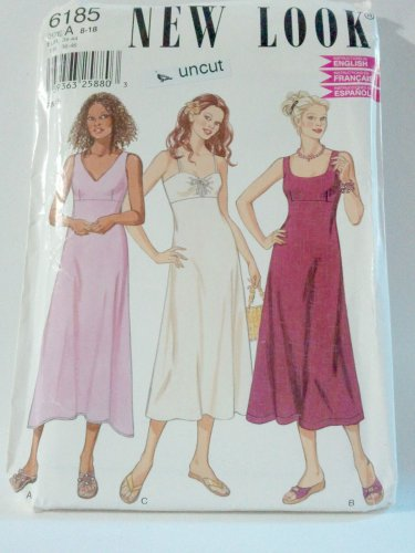 New Look 6185 Pattern Sleveless Dresses Lined Bodice 8 10 12 14 16 18 Uncut