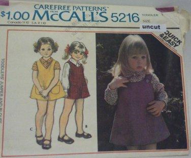 Vintage McCall 5216 Pattern Jumper Blouse Toddler Uncut 3