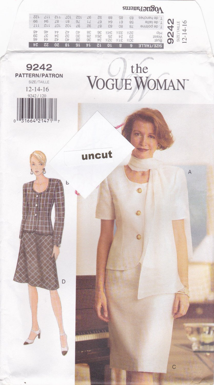 Vogue Woman 9242 Pattern 12 14 16 Fitted Lined Top Skirt Scarf Uncut