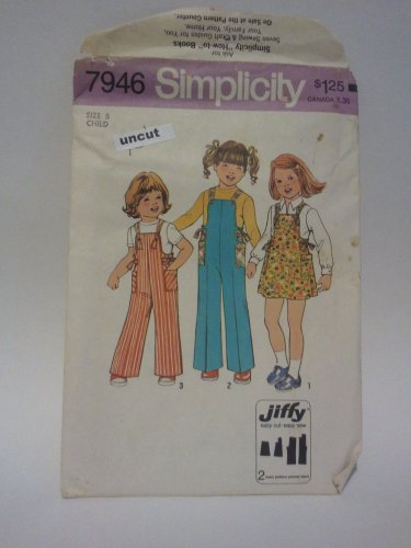 Vintage Simplicity 7946 Pattern Jiffy Overalls Jumper Bows Girls Uncut 5