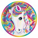 Lisa Frank Rainbow Majesty 7 inch paper cake plates 8 count Pony new