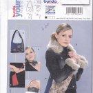 Burda 8560 Uncut Hobo or Evening Bag Purse Faux Fur Collar Cuff Trim Rose Choker