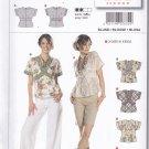 Burda 7834 Uncut 6 8 10 12 14 16 Blouse Top V Neck Contrast Bands Kimono Sleeves