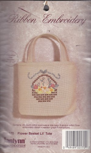JanLynn Ribbon Embroidery Kit 00-170 Flower Basket Lil' Tote to make tiny tote bag