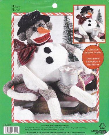 "Red Heel Sock Monkey Snowman ""Flakey"" Kit Leisure Arts 46303"