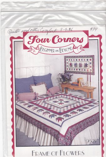 Four Corners Frame of Flowers 9527 Patchwork Pattern Quilt or Wallhanging