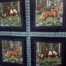4 Fabric Panels 2 Designs Horses with Blue Green Plaid Cranston for Pillows, Crafts