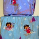 Dora the Explorer and Boots Flannel Sheets Flat Fitted Twin Cotton Blue Lavender