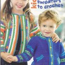 Kids Playful Sweaters to Crochet Pattern Booklet Jane Snedden Peever Leisure Arts 3826