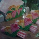 Spring Tulip Napkin Holder and 4 Napkin Rings Plastic Canvas Kit Flowers S91-612 for DIY Table Decor