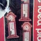 Christmas Holiday Needlepoint Plastic Canvas 6 Mini Clock Ornament Kit Mary Maxim 27382
