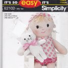 Simplicity E2102 Pattern Uncut Soft Sculpture Doll and Cat