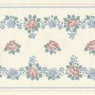 Vintage Country Floral Wallpaper Border 8-1/4 inches x 5 yards Blue Pink on Cream 1980s 80s WB758