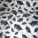 Sheer Black Fabric with Flocked Sparkly Black Bats 2-1/2 Yards x 44 inches for Halloween