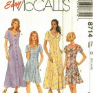 McCall's 8714 Pattern Uncut 12 14 16 Fit and Flare Dress 2 Lengths opt. Collar