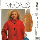 McCall's M5718 Pattern Uncut FF 8 10 12 14 16 Warm Lined Jacket Coat Button Front Winter
