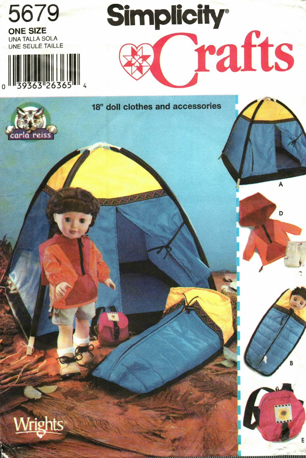 Simplicity 5679 Pattern Uncut FF Camping Clothes Accessories Tent for 18 inch doll