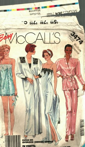 McCall's 3474 Pattern uncut Medium 14 16 Silky Robe Nightgown Camisole Pants Shorts Lingerie