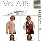 McCall's 7892 Pattern uncut small 8 10 Crafty Applique Vest