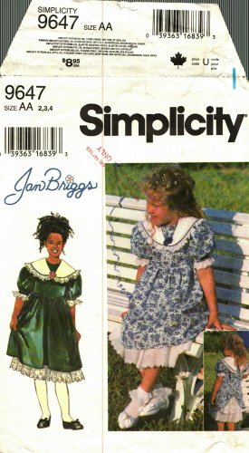 Simplicity 9647 size 4 Toddlers Dress Jan Briggs may be missing pieces, 50 cents plus shipping