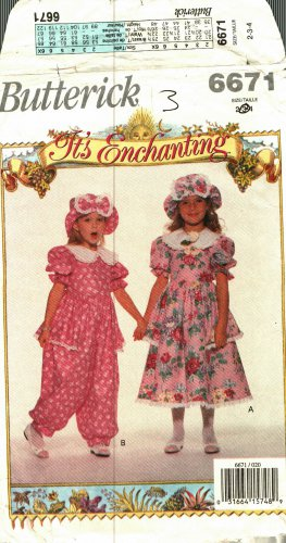 Butterick 6671 size 3 Toddlers Dress Jumpsuit Hat may be missing pieces, 50 cents plus shipping