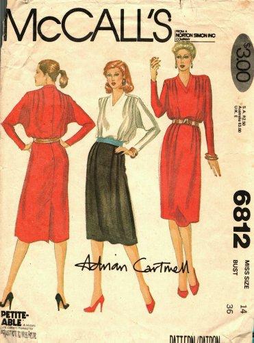 McCall's 6812 Pattern uncut 14 Back Button Dress Soft Pleats Adrian Cartmell