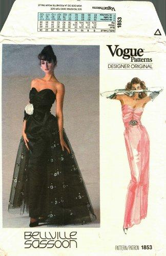 Vogue 1853 Pattern Uncut Size 10 Bust 32.5 Formal Dress Flared Overskirt Bellville Sassoon Designer