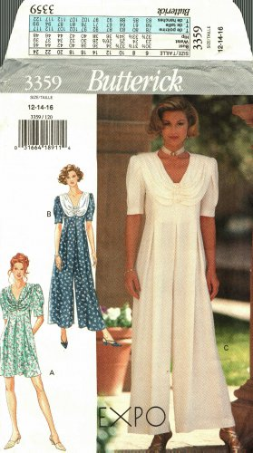 Butterick 3359 Pattern uncut 12 14 16 Wide Leg Jumpsuit with Soft Collar