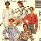 McCall's 5560 Pattern Uncut 20 22 24 Loose Fit Shirts Dropped Shoulders