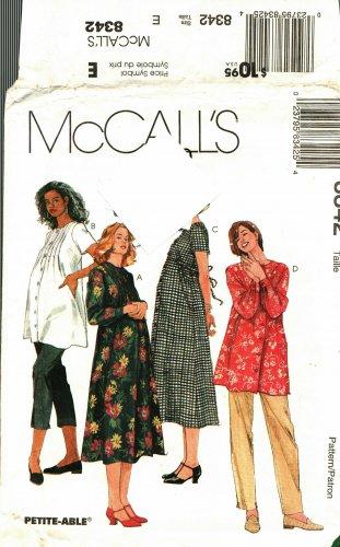 McCall's 8342 Pattern Uncut 14 16 18 Maternity Dress Top Pants Capris