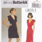 Butterick B5132 Pattern uncut 8 10 12 14 Dress with Deep V Neckline, Tucks Chetta B