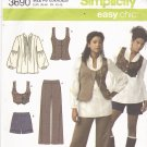 Simplicity 3690 Pattern uncut 12 14 16 18 20 Top Vest Pants Shorts