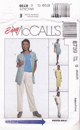 McCall's 8739 Pattern uncut 20 22 24 Dress Tunic Tank Top Pants Shorts