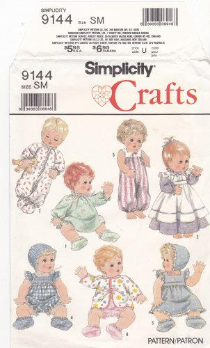 Simplicity 9144 Pattern Uncut Baby Doll Clothing Small 13 14 inches