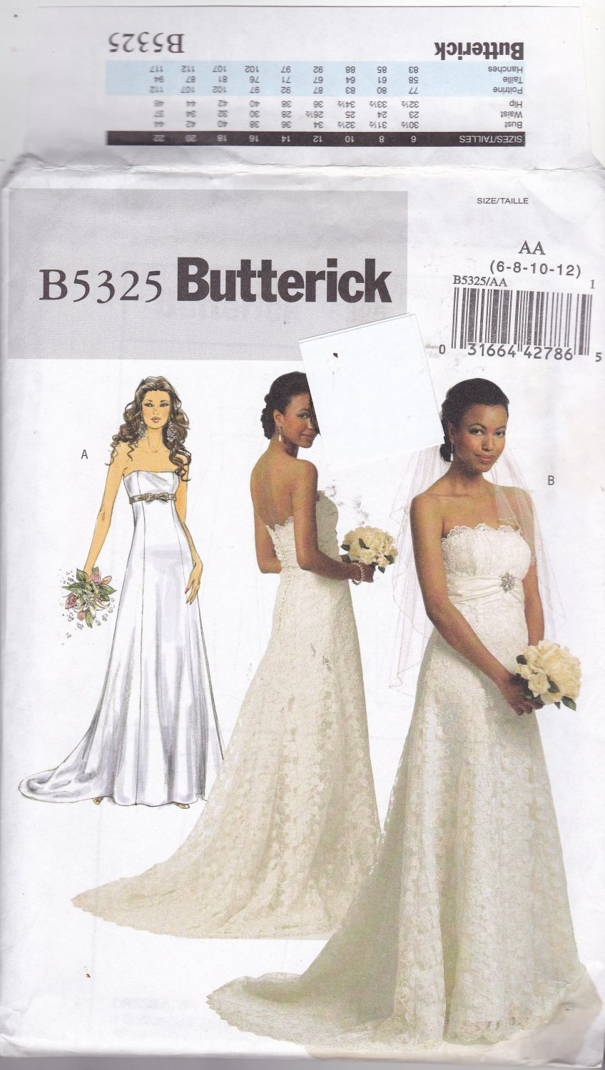 Butterick 5325 pattern uncut 6 8 10 12 strapless bridal for Butterick wedding dress patterns