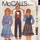 McCall's 7201 Pattern uncut Girls 8 Western Skirt Shirt Pants Vest 1980s Cowgirl