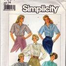 Simplicity Pattern 7854 Uncut 14 Button Front Blouses Vintage 1980s