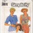 Simplicity Pattern 7471 Uncut 14 Button Front Shirts Vintage 1980s