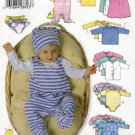 Butterick 5896 Pattern uncut Baby Infant Toddler Jacket Dress Top Romper Diaper Cover Hat