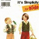 Simplicity 9266 Pattern uncut Toddlers Children 2 3 4 5 6 6x Pants Lined Vest Boys Girls