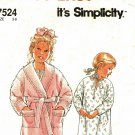 Simplicity 7524 Pattern uncut Toddlers Children 3 4 5 6 7 8 Bath Robe Night Gown Boys Girls
