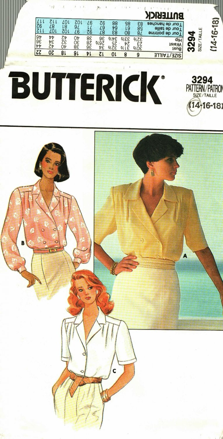 Butterick 3294 size 14 Loose Fitting Blouse, may be missing pieces