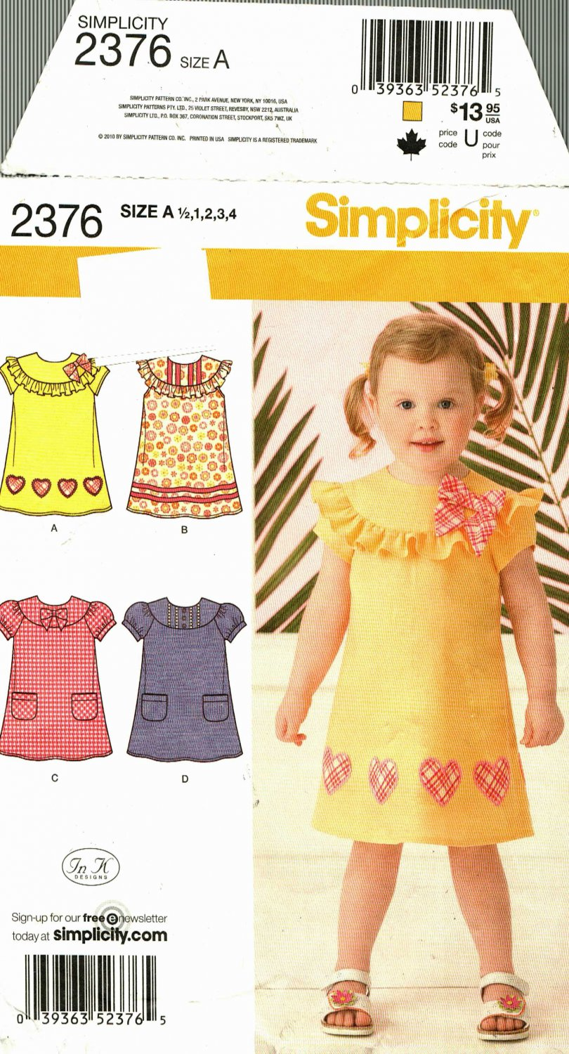 Simplicity 2376 Pattern uncut Toddler Child 1/2 1 2 3 4 Dress In K Designs